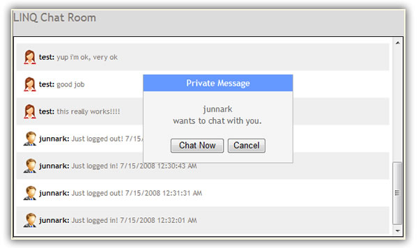 Invitation to chat privately