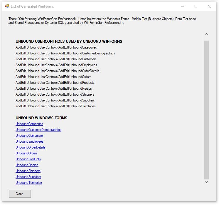 Free Windows Form Code Generator (WinFormsGen Express